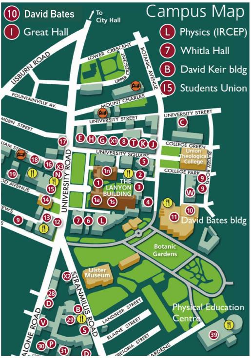 Qub Campus Map Venue | Maths Teachers' Conference Qub Campus Map